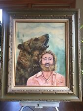 Vintage Grizzly Adams Original Oil on Canvas Painting Framed & Signed R. Hilbert