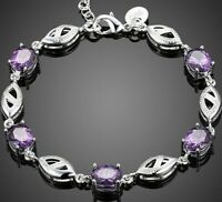 18K White Gold Filled Tennis bracelet with Oval-shaped Purple Amethyst ITALY