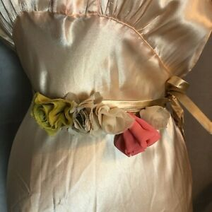 J Crew Silk Flower Sash Belt in Beige Chiffon and Satin, One Size Fits Most