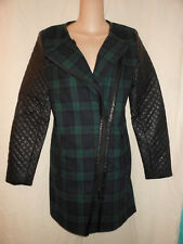 WALTER BAKER XS S M NWT Sadie Jacket Green Blue Tartan Plaid Wool Coat Punk
