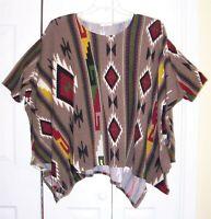 JODIFL Women's Short Sleeved Top Sweater Boho Poncho Southwestern Size S