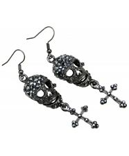 Gothic Crystal Skull and Cross Earrings Silver Plated Drop Earrings