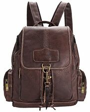 Coofit Brown Womens Leather Backpack Purse Shoulders Bag Travel Bag Daypack