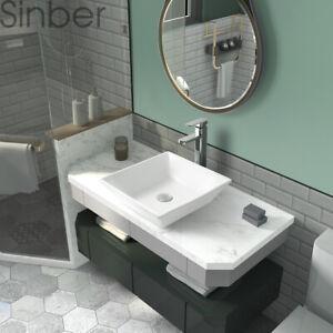 "Sinber 16"" x 16"" Square Ceramic Bathroom Vanity Vessel Sink Above Counter Basin"