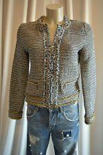 ZARA BASIC Boucle Tweed Strick Jacke EUR: M Blau-Weiß TOP *153