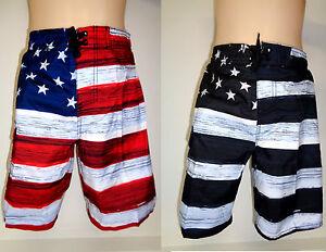 Boys Old Glory Patriotic Swim Trunk American Flag Swimwear Shorts USA Swimtrunk