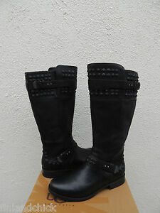UGG TALL DAYLE STUDS BLACK LEATHER/ WOOL BUCKLE BOOTS, WOMEN US 9/ EUR 40 ~NIB