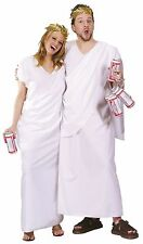 Greek Toga Costume Caesar God Wreath Leaf White Robe Ceasar Adults Mens Womens
