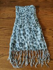 """Peace Scarf white with black peace signs approx 66"""" long with fringe - 11"""" wide"""