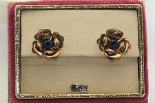 Vintage 1940s Harry Iskin Flower Bracelet Earrings 10k Gold Filled Original Box
