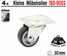 Möbelrollen Lenkrollen Tisch Lauf Rollen 4 x Ø 30mm Gummi Grau ISO-9001 Germany