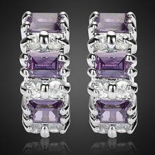 Sale! Lady Gift Purple Amethyst Hoop 18K White Gold Plated Gp Earrings Lady Gift