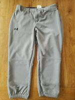 UNDER ARMOUR Gray Baseball Pants Mens Small W/ Navy Blue Emblem - Performance