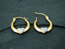 9ct Yellow Gold Reversible Crystal Heart Creole Earrings  Stamped 375. & Pouch