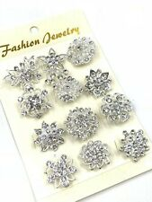 Pack Of 12 Diamante Silver Pin Brooch Crystal Flower Badge Wedding Pin Broach