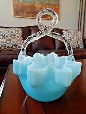 WEBB Victorian Glass PINCHED CASED BASKET BLUE Candy Dish Stevens & Williams