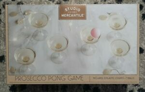 Stylish Champagne Prosecco Pong Game 12 coupes + 3 balls Party Bachelorette NEW