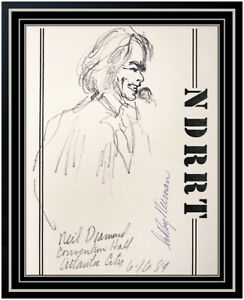 LeRoy NEIMAN Original Ink DRAWING Signed Neil Diamond Music AUTHENTIC ART Rare