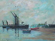 """11""""X14"""" Original Seascape Listed Artist UK Barges Boatyard Boudin Interest COA"""