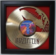 Led Zeppelin LP Framed Laser Cut Gold Plated Vinyl Record Shadowbox Wallart