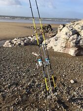 QUALITY SEA FISHING SET - 2 X 12FT BEACHCASTER RODS + 2 X SK7 SEA REELS + TRIPOD