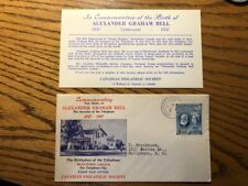 1947 Alexander Graham Bell Canadian Philatelic Society Cover with Insert