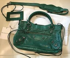 2003 Balenciaga Emerald Green Vintage First Handbag w/Pewter HW- long strap!
