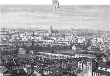 AUDE - VUE AÉRIENNE de CARCASSONNE au 19e siècle - Gravure du 19e siècle