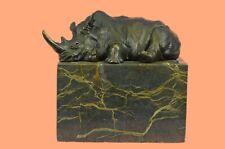 Stunning and Lifelike Bronze Rhino Sculpture Art Deco Figurine Decorative Deal