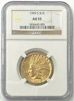 1909-S $10 Indian Head Pre-33 Gold Eagle NGC AU55 Super Low Mintage Of 292,350