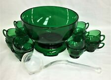Hocking FOREST GREEN *15 pc PUNCH BOWL SET *BASE* 12 CUPS* STYLE #2  LADLE*