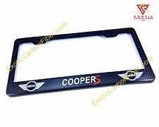 Mini Cooper S Logo & White Text Real Carbon Fiber license Plate Frame