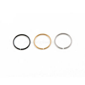 "20G 18G 1/4"" 5/16"" 3/8"" Gold Plated on Steel Seamless Nose Hoop Ear Tragus Ring"