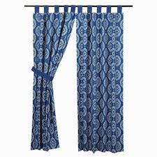 """63x36"""" Paloma Indigo Parchment Tab Top Short Panel Lined 2 Pc From VHC Brands"""