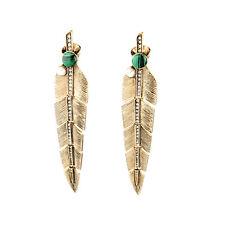 Boucles d`Oreilles Clips Pinces Doré Long Feuille Malachite Vert Perle Retro X12