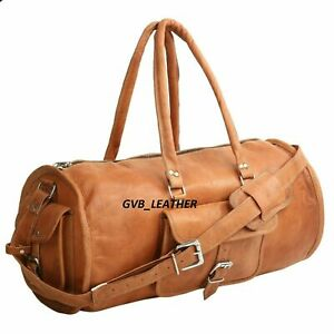 Bag Leather Retro Carry all Duffle Luggage Vintage Men Lightweight Weekend Real