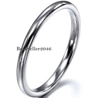 2mm Thin Polished Band Silver Tungsten Carbide  Men Women Wedding Ring Size 5-9