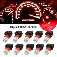 10x Red T10 SMD 194 5050 LED Bulbs Instrument Gauge Cluster Dash Light W/ Socket