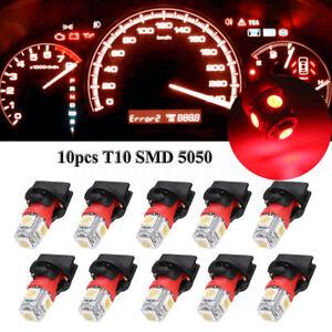 10x Red T10 SMD 194LED Bulbs Car Instrument Gauge Cluster Dash Light W/ Sockets