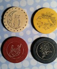4 Vintage Clay Poker Chips Owl on Crescent Moon-Frog-Horseshoe-Flower