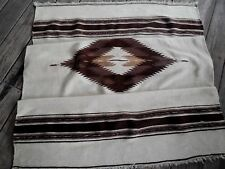 "VINTAGE MEXICAN INDIAN LATIN AMERICA SOFT WOOL BLANKET RUG TEXTILE 40"" X 80"""