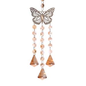 Champagne Butterfly Crystal Suncatcher Pendant Wedding Ornament Decor Gift