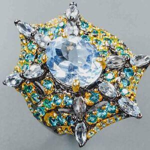 Hanamde Design Jewelry Blue Topaz Ring Silver 925 Sterling  Size 7 /R152317