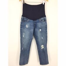 Gap Maternity Jeans Size 8 Distressed Full Panel Best Girlfriend Skinny Leg
