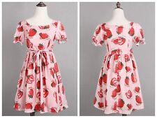 Women Lolita Strawberry Print Dress Harajuku Short Sleeves Fairy Kei Dresses
