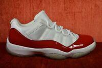 CLEAN Nike Retro Air Jordan 11 Low Cherry Red Size 10 XI White 528895-102