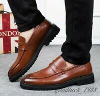 Mens Chunky Heel Leather Black Brown Slip On Loafer Formal Dress Shoes Big Size