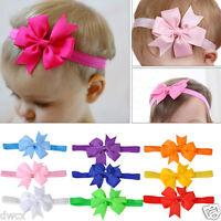 10pcs Baby Kids Girls Bow Hair Band Grosgrain Ribbon Headdress Headband Elastic
