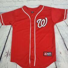 Washington Nationals Youth Majestic Button Up Swen Jersey Sz M