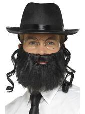 Le rabbin Kit noir avec chapeau attaché Cheveux Barbe & verres accessoire robe fantaisie